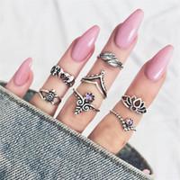 gelenk ring schmuck silber großhandel-7 teile / satz Alte Silber Ring Set Retro Lotus Turtle Elefant Blatt Ring Joint Ringe Crown Ringe Frauen Modeschmuck heißer Verkauf Drop Ship