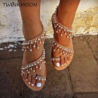 boncuk sandaletleri toptan satış-2019 Ins Moda Bohemia Yaz Düz Sandalet Dize Boncuk Rhinestone İnci Plaj Kadınlar Yaz Ayakkabı Kristal Flip-flop Sandalet