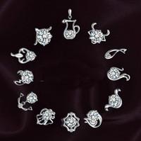 brincos de zircão genuíno venda por atacado-Brincos lindamente genuínos S925 moda retro doze brincos de prata esterlina high-grade zircon jóias sinal de orelha por atacado brinco
