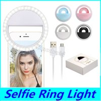RK12 Rechargeable Universal LED Selfie Light Ring Light Flash Lamp Selfie Ring Lighting Camera Photography For iPhone Samsung S10 Plus 50PCS