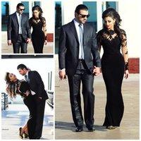 yanılma boyunluğu tam uzunlukta elbiseler toptan satış-2019 Yeni Tasarım Örgün Siyah Abiye Sheer Yüksek Boyun Çizgisi Kılıf Tam Uzunluk Illusion Uzun Kollu Abiye giyim için Arapça Kadınlar