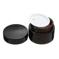 glaspflegebehälter groihandel-Leere Braunglas Kosmetik Pot Brown Kosmetik Hautpflege Cremetopf Nachfüllbare Flasche Make-up-Flasche mit schwarzen Deckeln