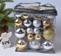 Wholesale black white tree painting resale online - Boxed red silver white and gold red painted ball plating ball window decoration Christmas decoration single box