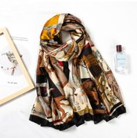Wholesale gold pink rings for women resale online - 180cm Long Imitation Silk Scarves For Women Summer Beach Cover up Beautiful Print Lady s Scarfs Shawls Wraps Hijabs Big Scarf Female Pashmin