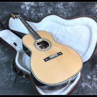 diy e-gitarre solide großhandel-2019 Customized Full Solid OM45 Akustikgitarre Abalone Inlay Ebenholz Griffbrett Bone Nut Solid Fichte Korpus