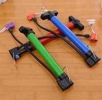 Wholesale portable bike pump resale online - Portable Hand Pump Bicycle Pumps Airballoon Inflator Ball Universal Mountain Bike Ball Needle Gas Nozzle Convenient Multi Function cdG1