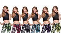 Wholesale skeleton yoga pants resale online - Women Tight Pants Flowers Skeleton Print Skinny Trousers Robot Leggings For Fall Womens Casual Sports Pants Gym Yoga Clothing