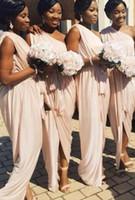 Wholesale best girls dress model resale online - Best Sale African New Bridesmaid Dresses Cheap One shoulder Chiffon Split Pleated Black Girl Wedding Guest Party Prom bridesmaids Dress