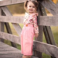 Wholesale baby girl clothing winter online - MUQGEW Fashion Baby Girls clothes Long Sleeve Floral Tops Solid Overalls Pants Clothes Outfits Winter clothes conjunto meni