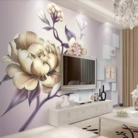 Wholesale art painting flower classic for sale - Group buy European style hand painted peony flower d TV background wall Living room sofa wallpaper Bedroom mural art wallpaper