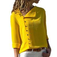 blusa de escritório amarelo venda por atacado-Verão 2018 Moda Botão de Manga Longa Amarelo Camisa Branca Das Mulheres Tops E Blusas Feminino Túnica Escritório Chemise Para Feminina Femme