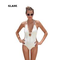 черный купальник без спинки оптовых-Black White cross back bodysuit Monokini Sexy one piece swimsuit Backless Swimwear Women Bathing suit Beachwear Bather