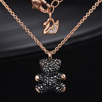 Wholesale bear necklaces resale online - European and American brands sterling silver inlaid natural crystal bear pendant necklace is the best gift for lovers