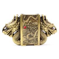 hebillas de cinturón encendedores al por mayor-Dragón dorado hebilla cinturón cinturón encendedor hebilla cabeza metal estilo punk cinturones partes cinturón de encendedor masculino encendedor de gas masculino