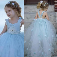 d19af40bd5 2019 Long Princess Vintage Spaghetti Tulle Flower Girl Dresses Applique  Sleeveless Child Baby First Communion Party Dress Beautiful Cheap