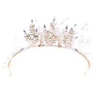 Wholesale butterfly wedding hair tiaras for sale - Group buy Fashion Yarn Butterfly Bridal Bride Wedding Hair Jewelry Crown Tiara Crystal Simulated Pearl Bead Headband Accessories