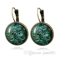 Wholesale peacock glass plate resale online - Earrings Vintage Peacock Glass Cabochon Earrings Peacock Handmade National Style French Hook Earrings For Girls Ladies