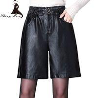 SHINYMORA 2019 PU Shorts for Women Casual Leather Shorts Pockets High Waist Elastic Female Sexy Fashion Big Size Black
