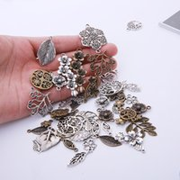 Wholesale antique silver leaf pendant resale online - 20pcs Random Retro Leaf Tree Charms Pendants Necklace Findings Antique Bronze Silver Metal Charms for DIY Jewelry Making