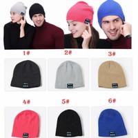 bluetooth intelligente hüte großhandel-Bluetooth Musik Beanie Hut Wireless Smart Cap Headset Kopfhörer Lautsprecher Mikrofon Freisprecheinrichtung Musik Hut OPP Beutel Paket MMA2355