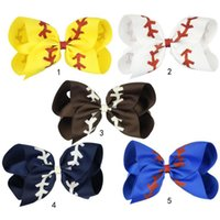 Wholesale girls glitter bow for sale - Group buy 4 Inch Glitter Printed Ribbon Baseball Bow With Clip For Kids Girls Handmade Boutique Large Hairgrips Hair Accessories MMA1678
