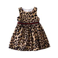 vestido sin mangas con estampado de leopardo al por mayor-Estampado de leopardo vestido de las niñas niños diseñador de las niñas vestidos 2019 nuevo Verano niños boutique Vestidos niños diseñador de ropa niñas Vestidos ocasionales A3569