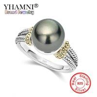 925 silberner schwarzer perlenring großhandel-YHAMNI Neue Schwarze Perle Ringe Für Frauen 925 Sterling Silber Hochzeit Fingerringe Mode CZ Schmuck Dropshipping ZR1058