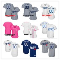 855f9c43 custom Men's women youth Majestic LA Dodgers Jersey #00 Your name and your  number Blue Grey White Kids Girls Dodgers Baseball Jerseys