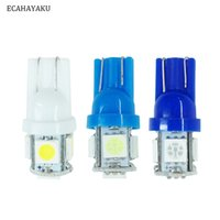 led-lampe hell weiß großhandel-ECAHAYAKU 2er T10 W5W LED Birne 5 SMD LED Weiß Blau Eisblau 5050 194 168 Superheller Keil Beleuchtet Birnen Lampen Auto Styling