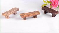 ingrosso piante per giardini fiabeschi-Doppio feci in legno massello Pianta in vaso Materiale fai da te Artigianato Moss Terrarium Micro Landscape Miniature Fairy Garden Decor