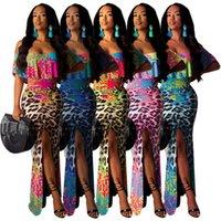vestido de leopardo xxl al por mayor-19S S Diseñador de modas Sexy Leopard Printing Hot-selling Impresión digital de un cuello Sujetador Vestido número S-XXL