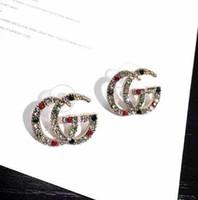 Wholesale black animal ears for sale - Group buy Brand Designer Double Letters Earrings Ear Studs Gold Silver Tone Earring For Women Men Wedding Party Jewelry Gift