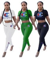 enge t-shirts frauen großhandel-Champions Brief Kurzarm Trainingsanzug Frauen Crop T-Shirt + Hosen Legging Enge 2 Stück Sportbekleidung Kurzarm Outfit Casual Anzug