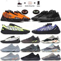 Wholesale navy blue gold tie resale online - new Tie dye Orange Teal Carbon blue reflective magnet Triple Black kanye west mens running shoes women trainers sneakers