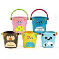 mini cubos de bebe al por mayor-Mini pila de cubos de baño de bebé juguetes de baño de dibujos animados cubos juguetes de bañera para los niños rociar herramientas de agua venta caliente