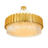 luces colgantes de araña de cristal redondo moderno al por mayor-Araña de cristal redonda contemporánea, luz dorada, lámparas colgantes de lujo, iluminación, sala de estar, dormitorio, moderno, led, lámparas colgantes de cristal