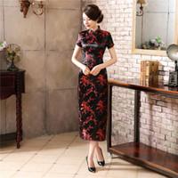 vintage chinese ipek cheongsam elbise toptan satış-Siyah Kırmızı Çince Geleneksel Elbise kadın Ipek Saten Cheongsam Eski Qipao Yaz Kısa Kollu Uzun Elbise Çiçek Artı Boyutu