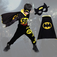 Wholesale batman clothes for kids for sale - Group buy Halloween Batman Clothes Sets For Kids Boys Leisure Sports Clothing Sets Cartoon Cosplay Cloak Mask Home Clothing Free DHL XD21079