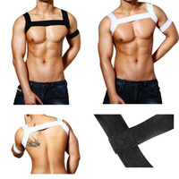 Wholesale man lingerie club resale online - Sexy Elastic Bandage Top Club Costume Straps Short Shirt Bondage Men body Harness Gay hot Fetish Lingerie Exotic Tanks clubwear
