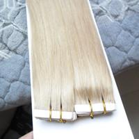 tramas de cabelo venda por atacado-Nova Virgem Brasileira Extensões de Cabelo de Trama Da Pele Reta 40 Pcs Fita Em Extensões de Cabelo Humano Todas As Cores Invisíveis Tramas Da Pele PU Fita No Cabelo