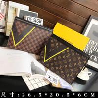 Wholesale pochette clutch for sale - Group buy X18 LOUIS VUITTON Genuine Leather POCHETTE VOYAGE men leather handbag women wallet michael shoulder bags purse clutch BOX