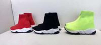 calcetines de fútbol verde negro al por mayor-Zapato para niños, negro, rojo, verde, calcetín, bota, zapatos para niños, zapatillas deportivas, botas de fútbol de moda, EU 24-35, con caja y bolsa para el polvo.