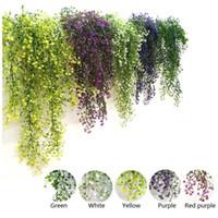 yapay çelenk bitkileri toptan satış-Yapay Ivy Yaprak Garland Bitki Sahte Yeşil Sarmaşık Yapay Ağaçlar Vine Ev Bahçe Düğün Dekor Asma