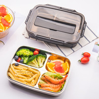 conteneur à baguettes achat en gros de-3 boîtes de riz de boîte à lunch d'acier inoxydable de la boîte à bento 304 de la grille 4 / grille avec la cuillère de baguettes pour les récipients portatifs de nourriture d'étudiant CCA11668 4pcs