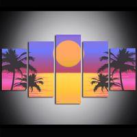 öl leinwand palmen großhandel-5 Stück Große Größe Leinwand Kunstdruck Ölgemälde Mond Ozean Palme Wandbilder für Wohnzimmer Gemälde Wand Dekor Modernes Design