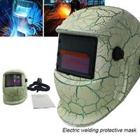 soldadora solar al por mayor-Freeshipping ajustable Solar Máscara de oscurecimiento automático de soldador Proteger montado en la cabeza casco de soldadura para la molienda de gota