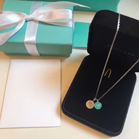 cartes solitaire achat en gros de-2019 La nouvelle inscription collier de femmes charmante charismatique élégante en forme de cœur rond double carte