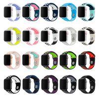 relojes de banda blanda al por mayor-Banda deportiva de repuesto de silicona suave para Apple Watch Series de 38 mm / 42 mm Correa de pulsera de muñeca de 4/3/2/1 42 mm para iWatch Sports Edition 81010