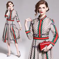 diseñador de moda vestido de la pista al por mayor-Diseñador de moda Runway 2019 Primavera Otoño vintage mujer europea cuello doblado manga larga vestido de cintura
