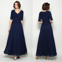 Wholesale line wedding dress brown sash for sale - Group buy Plus Size Dark navy Blue Mother Of The Bride Dresses V Neck Full Length Half Sleeve Wedding Guest Dresses A Line Cheap Evening Gowns